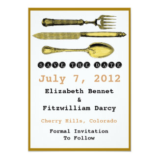 Save The Date - Steampunk Knife Fork and Spoon 13 Cm X 18 Cm Invitation Card