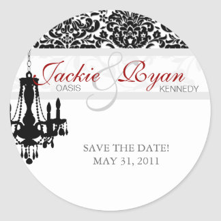Save the Date Sticker Chandelier BW Damask