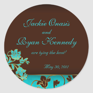 Save the Date Sticker Elegant Gold Floral BB