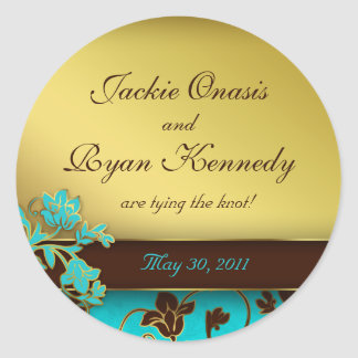 Save the Date Sticker Elegant Gold Floral BB 2
