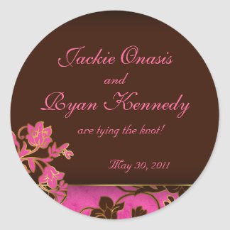 Save the Date Sticker Gold Floral Pink Brown