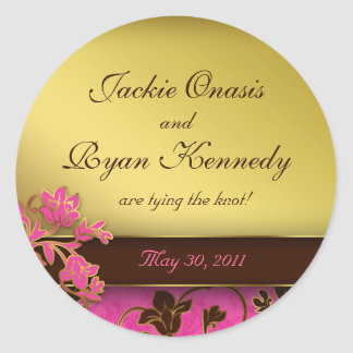 Save the Date Sticker Gold Floral PInk Brown 2