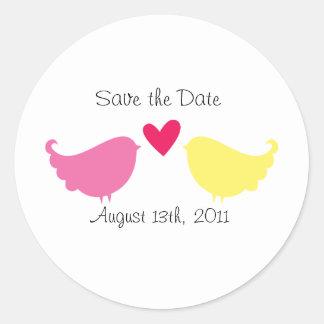 Save the Date Sticker- Love Birds Round Sticker