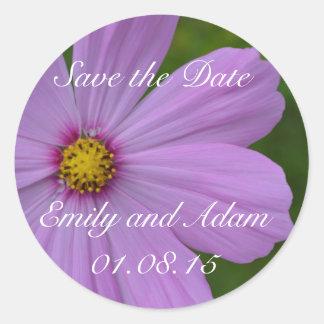 Save the Date Sticker: Purple Cosmos Flower Classic Round Sticker