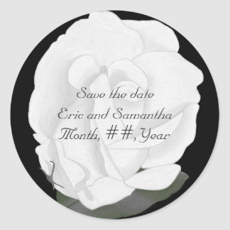Save the date stickers, white rose, wedding