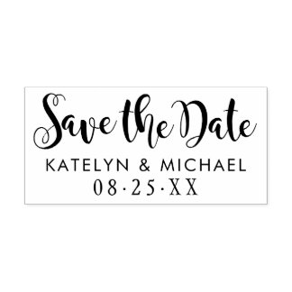 Save the Date | Stylish Script Rubber Stamp