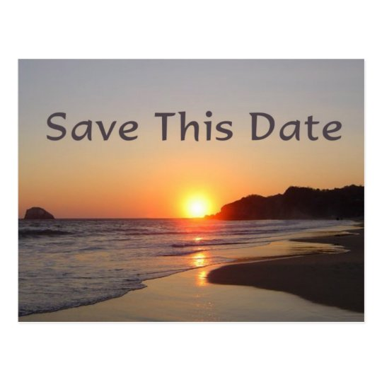 Save The Date Sun Setting on Beach Postcard