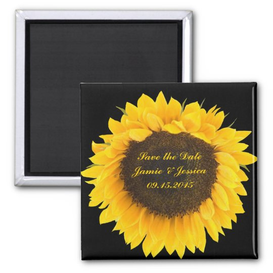 Save the Date Sunflower-choose magnet colour