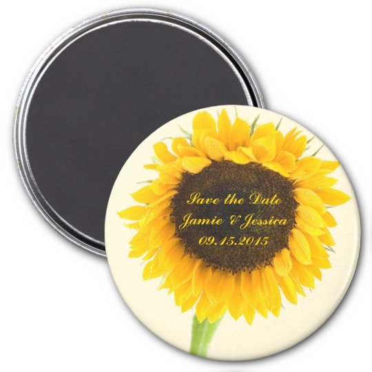 Save the Date Sunflower Magnet