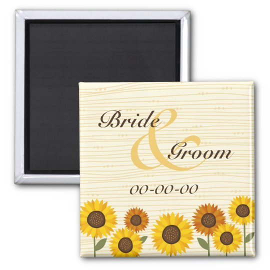 Save the date - Sunflower retro garden Square Magnet
