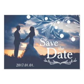 Save the Date - Sunset Couple with White Floral Card