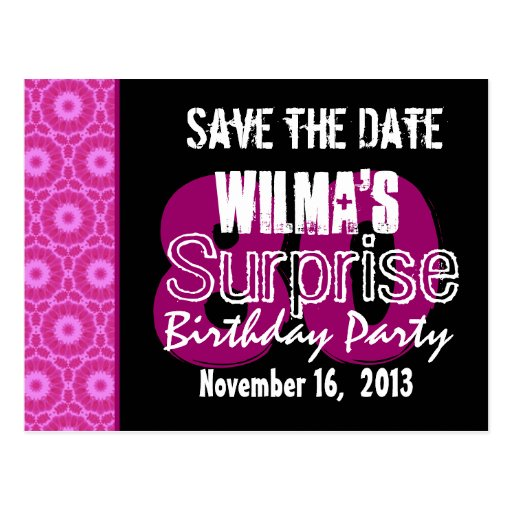 Save the Date Surprise 80th Party Pink W1751 Post Card