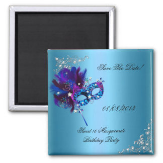 Save The Date Sweet 16 Masquerade Blue Square Magnet