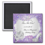 Save The Date Sweet 16 Masquerade Purple White Fridge Magnet