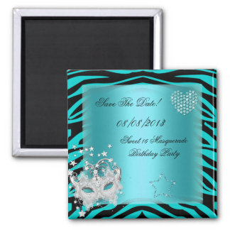 Save The Date Sweet 16 Masquerade Teal Zebra Square Magnet