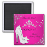 Save The Date Sweet 16 Pink High Heels Shoes Tiara Magnets