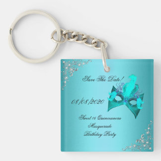 Save The Date Sweet 16 Quinceanera Masquerade Teal Double-Sided Square Acrylic Key Ring