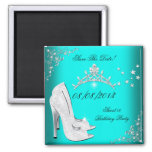 Save The Date Sweet 16 Teal High Heels Shoes Tiara Square Magnet