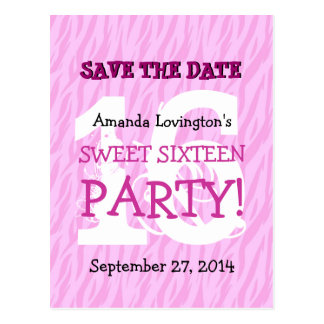 Save the Date Sweet 16 Zebra Birthday Party V04 Postcard