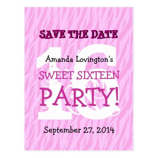Save the Date Sweet 16 Zebra Birthday Party V04 Postcard
