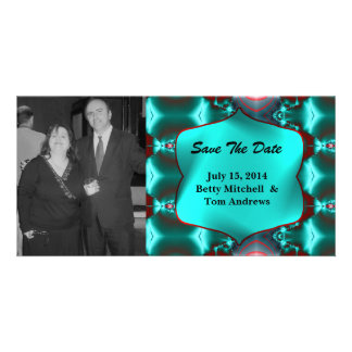 Save the Date Teal Red Abstract Design Photo Greeting Card