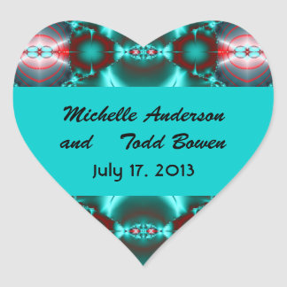 Save the Date Teal Red Abstract Design Heart Sticker