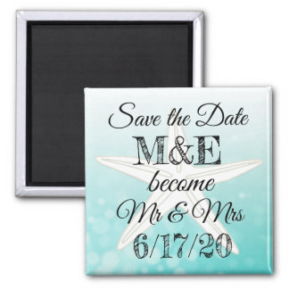 Save the Date Teal Starfish Wedding Magnet