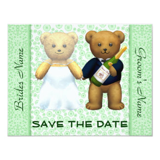 Save the Date Teddy Bears Apple Wedding Invite