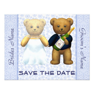 Save the Date - Teddy Bears Blue Wedding Invite