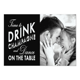 Save the Date - Time to Drink Champagne 13 Cm X 18 Cm Invitation Card