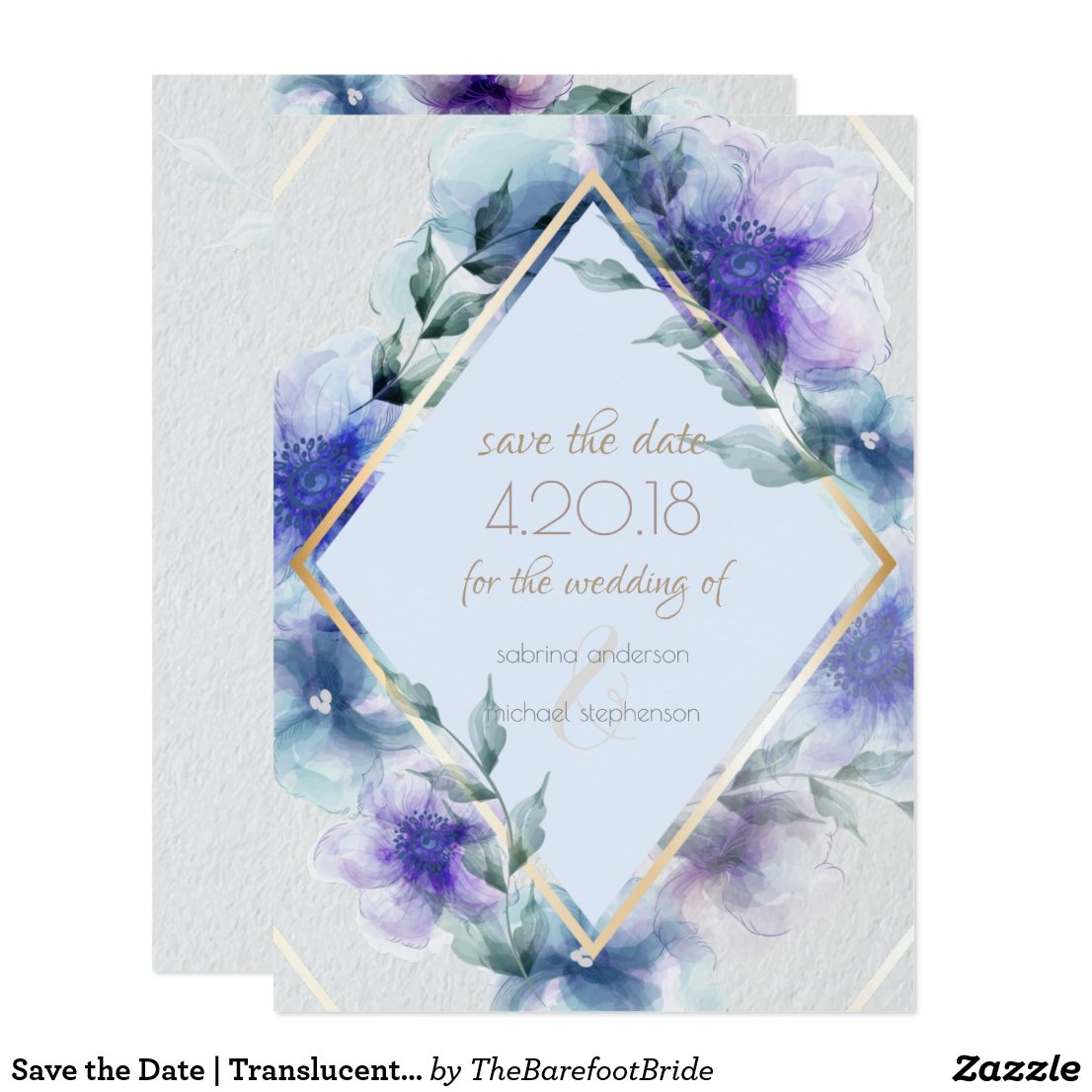 Save the Date | Translucent Watercolor Flowers Invitation