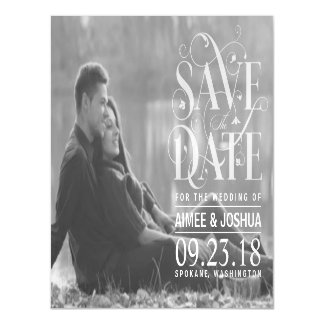 Save the Date Transparent Typography Photo Magnetic Invitations