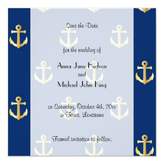 """Save the Date - Trendy Nautical Anchor - Blue Gold 5.25"""" Square Invitation Card"""