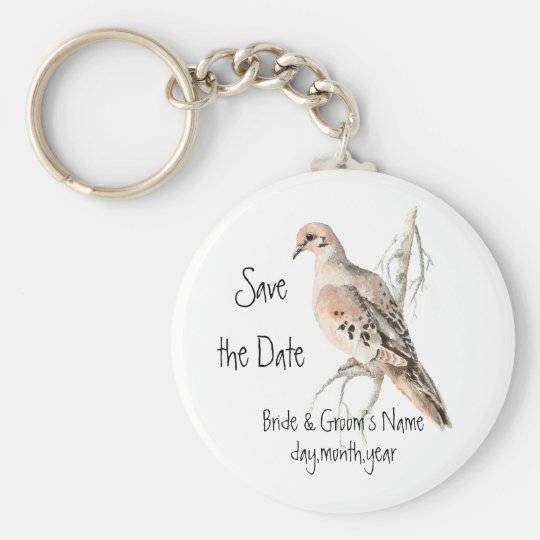 Save the Date, TurtleDove, Bird Wedding Basic Round Button Key Ring