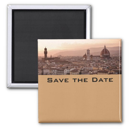 Save the Date Tuscany Square Magnet