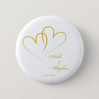 Save The Date - Two hearts intertwined 6 Cm Round Badge