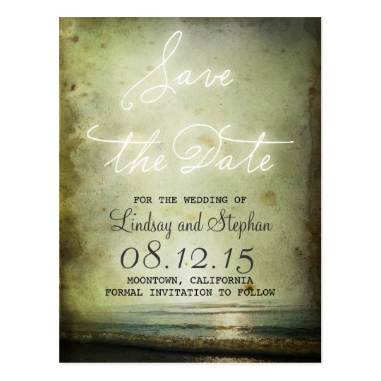 Save the Date Vintage Beach Magnets Postcard