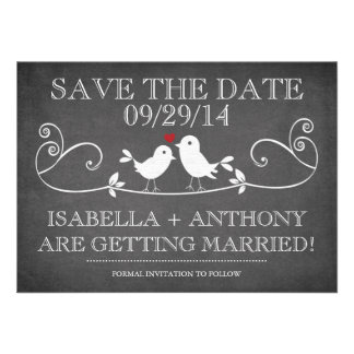 SAVE THE DATE Vintage Chalkboard Love Birds Custom Announcement