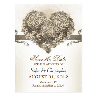 save the date vintage floral heart postcards