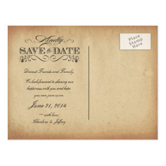 Save the Date Vintage Parchment Postcard