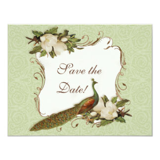 "Save the Date - Vintage Peacock & Magnolia Swirl 4.25"" X 5.5"" Invitation Card"