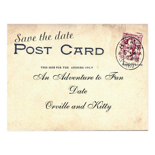 Save The Date vintage postcard