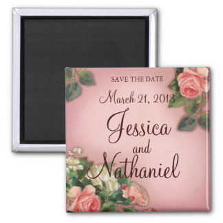 Save the Date Vintage Roses Magnet