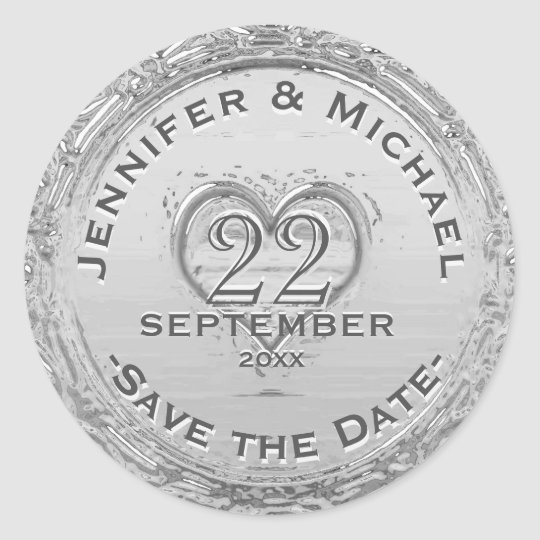 Save the Date - Vintage Silver Foil Look