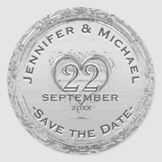 Save the Date - Vintage Silver Foil Look Round Sticker