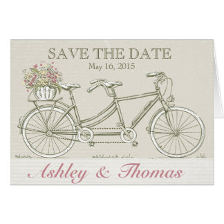 Save the Date Vintage Tandem Bicycle Greeting Card