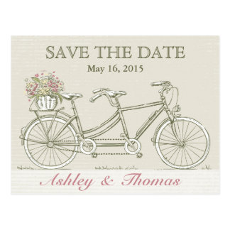 Save the Date Vintage Tandem Bicycle Postcard