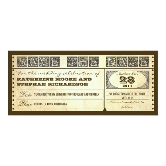 save the date vintage tickets card