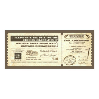 save the date vintage tickets design card