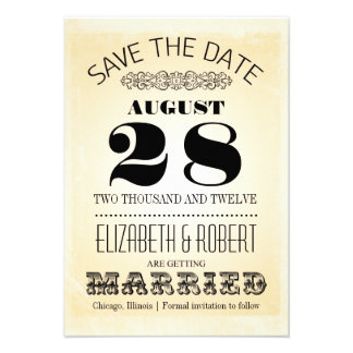 save the date vintage typography invitations